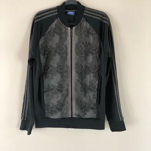 Adidas men's black and grey athletic jacket L
